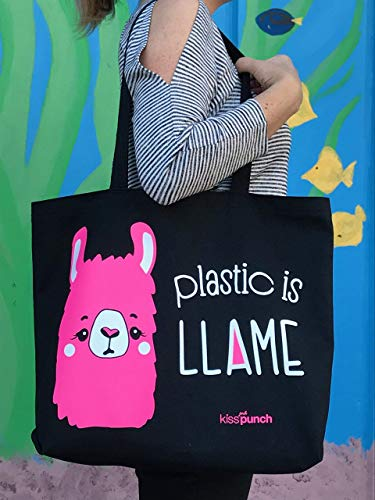Funny Screenprinted Llama Tote Bag Sturdy Black Reuseable Grocery Plastic is Llame