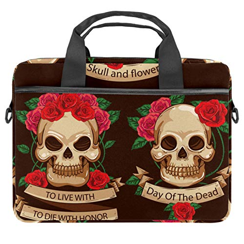 13.4'-14.5' Laptop Case Notebook Cover Business Daily Use or Travel Mexico Day of The Dead Sugar Skull Flower