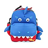 Yodo 3-Way Convertible Playful Insulated Kids Lunch Boxes Carry Bag / Preschool Toddler Backpack for Boys Girls, with Quick Access front Pouch for Snacks, Shark