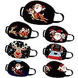 Lulupi Mundschutz Multifunktionstuch Weihnachten Waschbar Maske Lustig Weihnachtsmotiv Mund und Nasenschutz Baumwolle Rentier Elch Motiv Mundbedeckung Weihnachts Halstuch Schals für Herren Damen