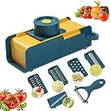 Vegetable Chopper,Onion Chopper Vegetable Slicer with Container Food Chopper Mandoline Slicer for Veggie,Fruit Salad, Tomato, Potato - 4 Blades - 1 Peeler