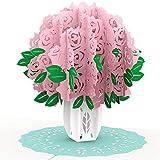 PaperCrush® Pop-Up Karte Rosa Rosen - 3D Geburtstagskarte für Frauen, Blumen Glückwunschkarte zum Geburtstag - Romantische Liebeskarte für Frau oder Freundin (Hochzeitstag, Ich Liebe...