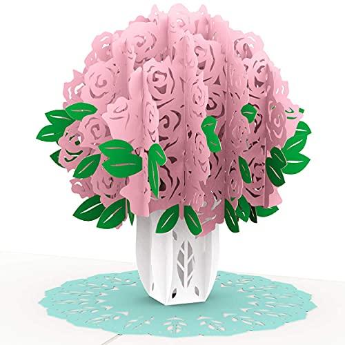 PaperCrush Pop-Up Karte Rosa Rosen - 3D Geburtstagskarte für Frauen, Blumen Glückwunschkarte zum Geburtstag - Romantische Liebeskarte für Frau oder Freundin (Hochzeitstag, Ich Liebe Dich Karte)