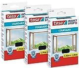 tesa 55671 Insect Stop - Mosquitera para ventanas (3 unidades, se puede cortar sin taladrar, 3 redes para moscas, 110 x 130 cm), color gris antracita (transparente)