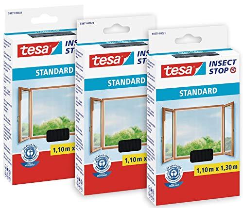 tesa 55671 Insect Stop Standard Fliegengitter für Fenster im 3er Pack-Insektenschutz zuschneidbar-Mückenschutz ohne Bohren-3 x Fliegen Netz 110 cm x 130 cm, Anthrazit (durchsichtig)