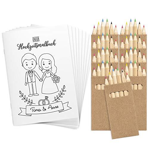 Wedding Shop Love Grows 9 Stück Hochzeitsmalbuch mit Buntstifte-Set / 24-seitiges Malbuch zur Hochzeit für Kinder als Gastgeschenk Mitgebsel