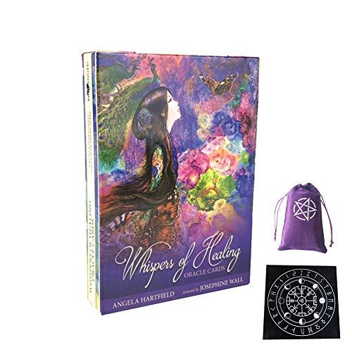 Whisper of Healing Tarjetas de Oracle Amigos Fiesta Familiar Jugando Vacaciones Feliz Juego de Mesa Tarjetas de Regalo,with Tablecloth + Bag,Tarot Cards