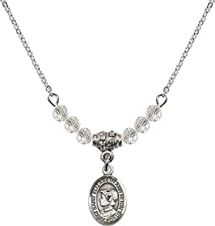 18-Inch Rhodium Plated Necklace with 4mm Ruby Birthstone Beads and Sterling Silver Saint Elizabeth of the Visitation Charm.