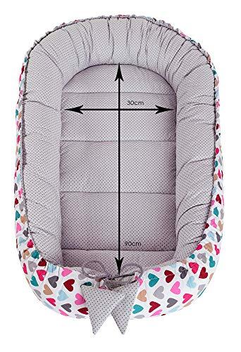 Babynest Kuschelnest Babynestchen 100% Baumwolle Nestchen Reisebett für Babys Säuglinge Medi Partners 90x50x13cm herausnehmbarer Einsatz (bunte Herzen mit grauen Minky) - 4
