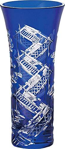 東洋佐々木ガラス フラワーベース ブルー 約φ7.5×16.5cm 八千代切子 花器 八つ橋 日本製 LV68360SULM-C660