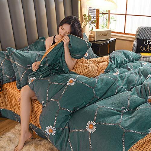 Sábanas y fundas de almohada,Terciopelo de leche nuevo invierno de cuatro piezas Impresión coreana AB vellón ropa de cama de franela gruesa--Verde oscuro_Juego de cuatro piezas de sábana de 1,5 m