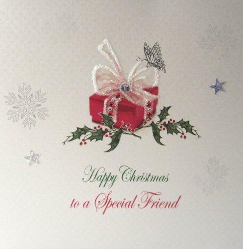 White Cotton Cards X64 - Tarjeta de Navidad (hecha a mano), diseño de regalo con texto Merry Christmas To A Special Friend, color blanco