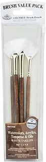 Royal & Langnickel RSET-9166 - Set de brochas abanico, de taklon (4 piezas) color blanco