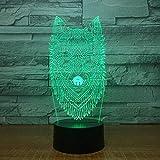 Cabeza de lobo luz de noche colorida luz automática 3D LED lámpara de mesa pequeña interfaz USB luz de control remoto táctil luz de noche colorida