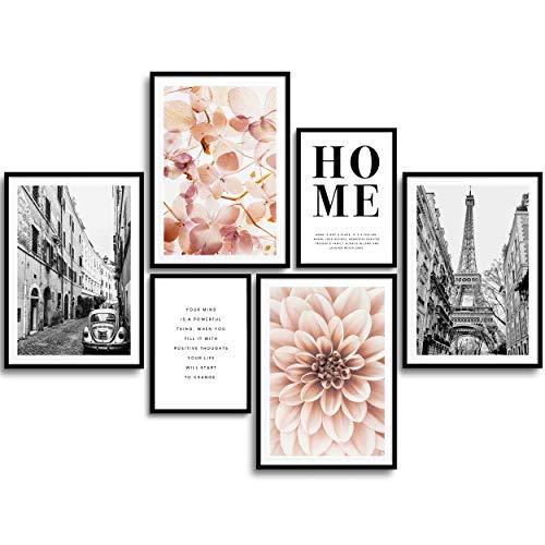 MONOKO® Woonkamer Poster Set – Premium Afbeeldingen Set voor slaapkamers – Stijlvolle Muurschilderingen – Set van 6…