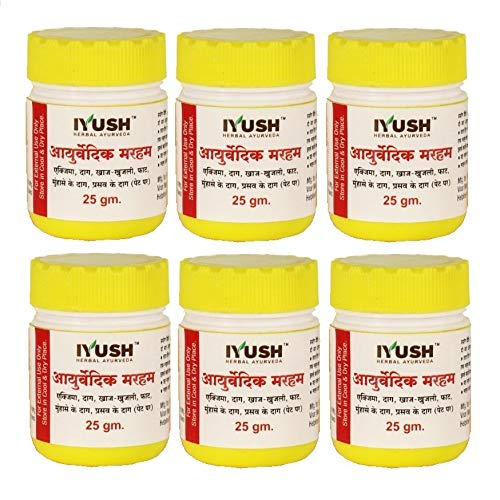 IYUSH Herbal Ayurveda IYUSH Ayurvedic Marham Ointment for Itching, Ring Worms, Eczema, Pregnancy Stretch Marks, Crack Heels and All Type Skin Diseases-25 g Each (Pack of 6)