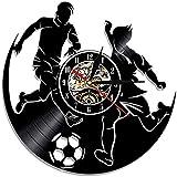 FUTIIF Hommes Match De Football Silhouette LED Night Light Disque Vinyle Horloge Murale avec Rétro-Éclairage De Football Joueur Sportif Montre Murale avec LED