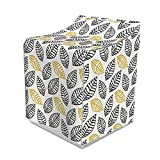 Ambesonne Off White Washer Cover, Digitally Generated Silhouettes of Leaves on a Plain Background, Dust and Dirt Free Decorative Print, 29' x 28' x 40', Charcoal Grey and Yellow