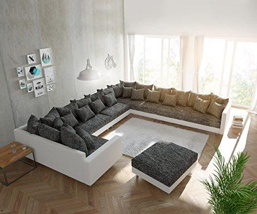 DELIFE Couch Clovis XXL Weiss Schwarz mit Hocker und Armlehne Ottomane Rechts Wohnlandschaft