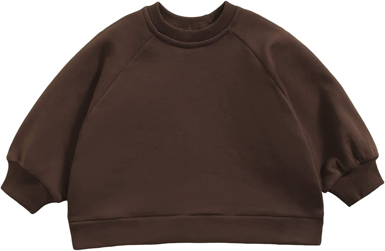 Boys' Baby Pullover Sweater Round Neck with Raglan Sleeves Solid Color Loose Version Spring Clothing
