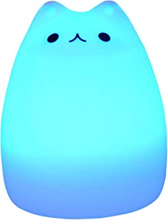 Children Night Light 7 Colorful Silicon Cute Cat LED Night Light Lamp USB Rechargeable Desk Light for Baby Kids Bedside Bedroom Children Study lamp