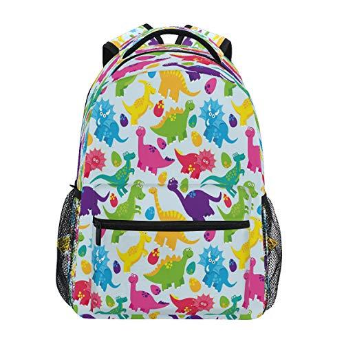 HaJie Backpack Colorful Dinosaur Animal Egg Pattern Travel Daypack Large Capacity Rucksack Casual School Book Bag Shoulder Straps Computer Laptop Bag for Womens Mens Teenage Girls Boys