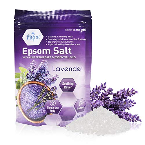 Medpride Epsom Bath Salts Soak For Pain Relief With Lavender Essential Oil- Relaxing Foot Bath Salts For Soothing, Muscle Recovery & Relaxation - Pure Moisturizing Soaking Salts For Men & Women 19.2oz