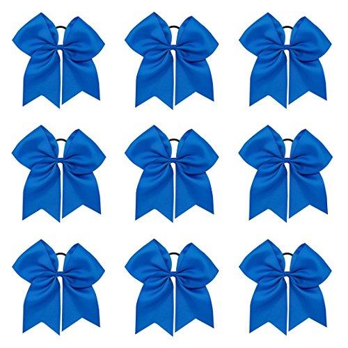 Zcoins 9 stücke 20 cm Große Haarschleife Befestigen Haargummi für Frauen Mädchen Cheerleader Großen Grosgrainband Bogen (Blue)
