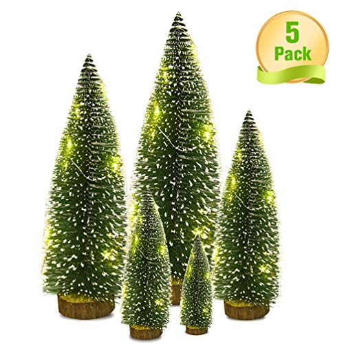 VOSTOR Mini Christmas Tree 5 Pcs, Desktop Miniature Pine Tree with Wood Base, Tabletop Mini Sisal Trees with 1 Pcs 3.3ft LED Light Snow Frosted Trees Ideal for Christmas DIY Craft Party Decor