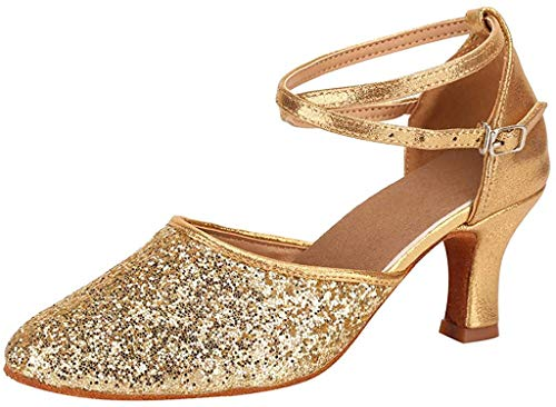 Pumps Damen, Tanzender Stiletto Sandalen Walzer Modern Slingpumps Ballsaal Latin Dance Soft Bottom Hochzeit Sandalen(Gold,EU 39)