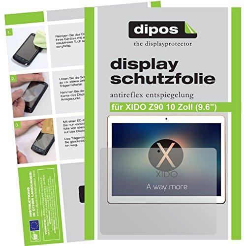 """dipos I 2X Schutzfolie matt kompatibel mit XIDO Z90 10 Zoll (9.6\"""") Folie Displayschutzfolie"""