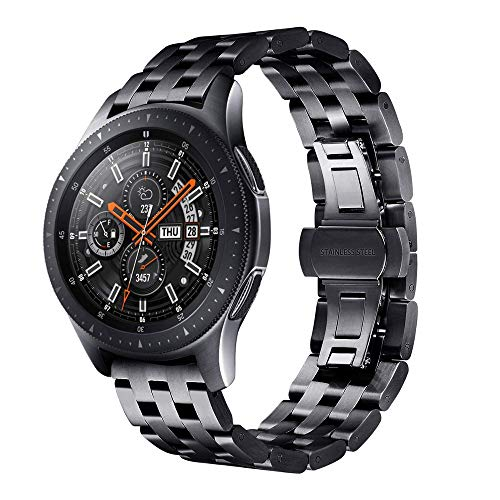Band Strap for Gear S2, Miya System Ltd Solid Stainless Steel Wristband Adjustable Metal Watch Strap for Samsung Galaxy Watch Active/Active 2 40mm/Gear S3 Frontier/Gear S2 (Black)