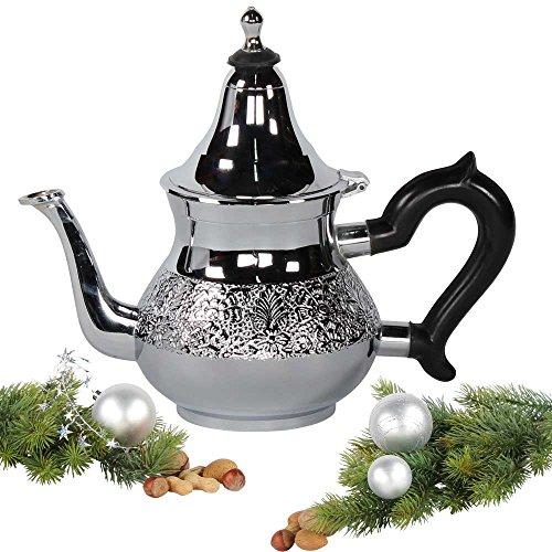 albena shop 73-106 Chaaya orientalische Teekanne Messing verchromt 0,8 l