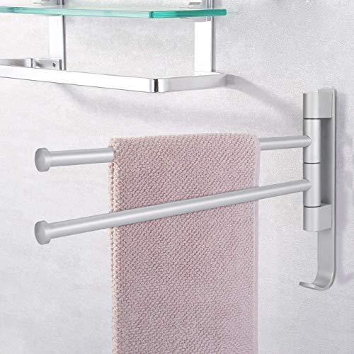 40 cm Handtuchhalter ohne Bohren Handtuchstange selbstklebend Badetuchhalter mit Haken 2 armig Halterung im Badzimmer Küche Nicht rostig - Silber