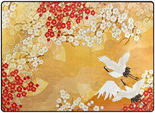 Deurmat voor woonkamer, slaapkamer, huis, keuken, tapijt, 63 x 48 cm, zacht tapijt, personaliseerbaar, Japanse Kimono en Sakura Office 80 x 58 inches