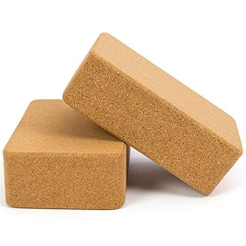 SPFCJL Cork Yoga Pilates Fitness Block de alta densidad Gimnasio Espuma Entrenamiento Estiramiento Ayuda Cuerpo Formación Equipo de Entrenamiento Yoga Ladrillo Madera (Color: 2 Paquetes)