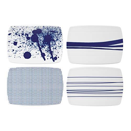 Royal Doulton Pacific 40029956 - Set di 4 formaggi, in porcellana, 20 cm, colore: Blu