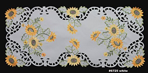 Creative Linens Sunflower Table Runner 15x34 Embroidered Cutwork Dresser Scarf White