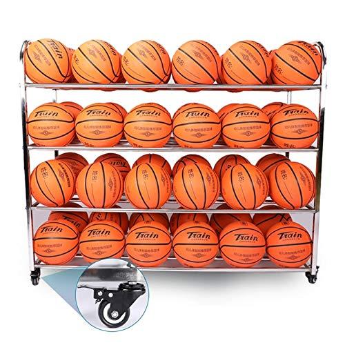 Erru Ballwagen Ballregal Fußball-Aufbewahrungswagen mit Großer Kapazität 4-Regal, Kindergarten Sport Basketball Racks mit Rollen, Stabilitätsgaragenorganisator für 48 Nr. 5 Bälle