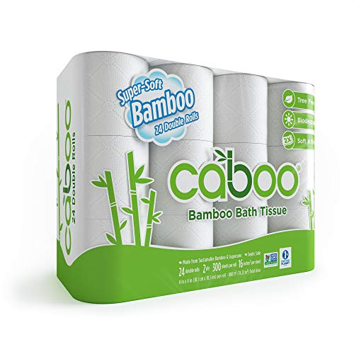 Caboo Tree Free Bamboo Toilet Paper with Septic Safe Biodegradable Bath Tissue, Eco Friendly Soft 2 Ply Sheets - 300 Sheets Per Roll, 24 Double Rolls