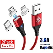 UGI Magnetic Charger Cable Fast Charging 3 in 1 Cable 3A Quick Charge & Data Sync Nylon Braided Charging Cord (1M+2M,2 Pack) for Android Micro USB,Type C/USB C,i -OS Smartphone,Tablet,All Devices