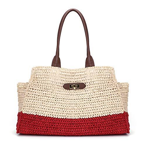 Joseko - Bolsa de playa de verano para mujer, bolsa de paja, para viaj