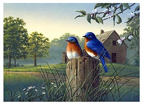 Twee vogels op een houten paal 5D DIY diamant tekening ronde boor volledige diamant kruis steek borduurwerk kamer Decor diamant schilderij Kits 40 cm.