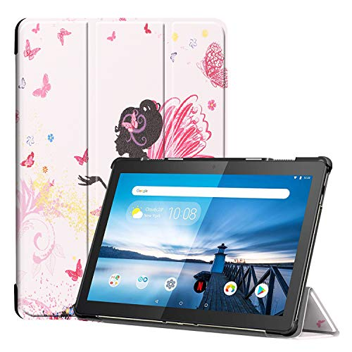 Fine Finet Case for Lenovo Tab M10 (TB-X605 / TB-X505), Trifold Stand Ultra Slim Lightweight PU Leather Magnetic Flip Shockproof Rugged Protective Cover Shell, Elf girl