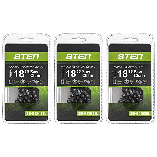 8TEN Chainsaw Chain for Stihl 260 261 270 280 290 360 361 380 22BPX074G 18 inch .063 .325 74 Drive Links 3 Pack