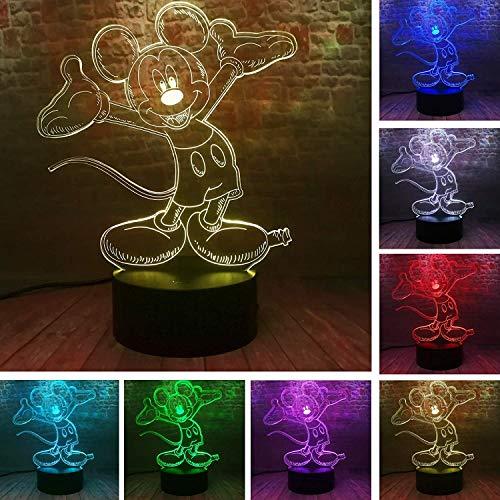 Niedliche Karikatur Mickey Mouse 3D Nachtlicht LED 16 Farben Illusion USB Touch/Fernbedienung Tischlampe Jungen Geburtstag Kind Kinder Freunde Bros Weihnachten Urlaub Geburtstag Geschenke Spielzeug