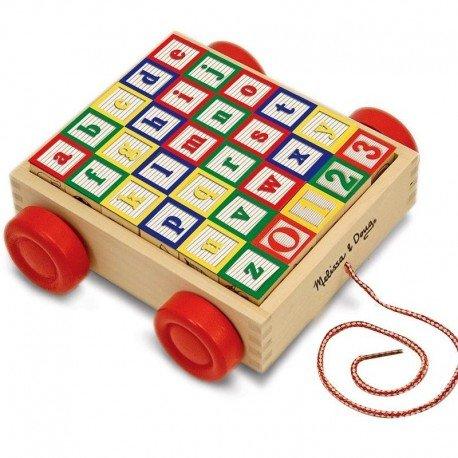 Melissa and doug - Jouet à tirer en bois Chariot de cubes ABC, 123 et image 30 cubes Enfant 2 ans +