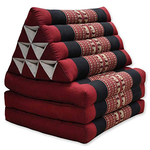 Wifash Colchón Thai 3 Pliegues, con cojín triángulo, Ocio, colchón, Kapok, Playa, Piscina, Fabricado en thailande, Rojo/Negro con Elefantes (82703)