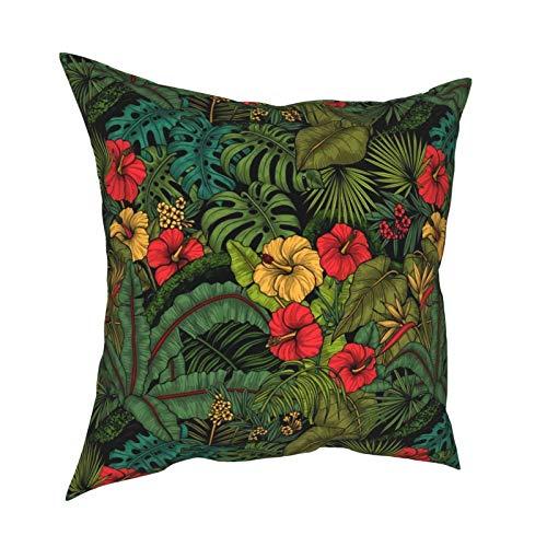 Uliykon Fundas de cojín decorativas de jardín tropical, suaves, cuadradas, fundas de almohada para sofá, dormitorio, coche, con cremallera invisible, 45,7 x 45,7 cm