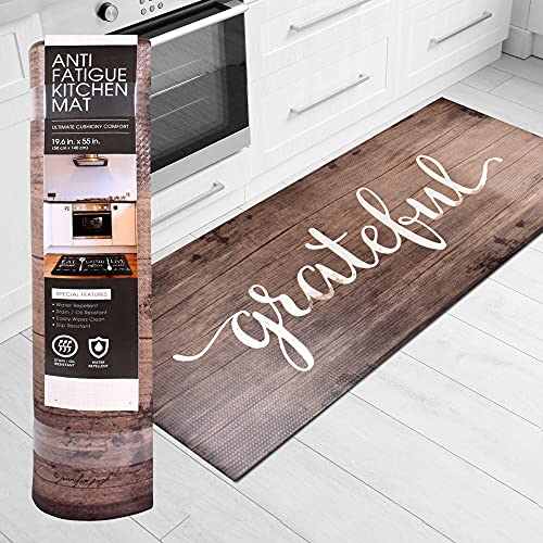 J&V TEXTILES Anti Fatigue Kitchen Runner Mat- 20' x 55' Oversized Long Non Slip PVC Rubber Kitchen Area Rug- Cushioned Comfort Mat With Foam Backing For Office Standing Desk Or Laundry Room [Grateful]